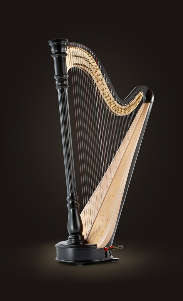 "$127900 Chicago Concertino Extended 47 Strings pedal harp 0 octave G to 7th octave C Height 70"" (178 cm) Extreme Width 38 3/4"" (98 cm) Weight 78 lbs (35 Kg) Color natural, mahogany and ebony finishes Introducing the Chicago Concertino Extended, designed by Lyon & Healy. In the spirit of the modern skyline of its namesake, the Chicago Concertino Extended has a neoclassical style and design. Built with a Sitka Spruce soundboard and Hard Maple body, the Chicago Concertino Extended has a clear and dependable sound. The soundboard is decorated with a beautiful climbing vine and the mechanism features solid brass action plates. An ease to play with an unmatched value, the Chicago Concertino Extended is the perfect partner for the harpist in the pursuit of expressive musicianship. The Chicago Concertino Extended is available in natural, mahogany and ebony finishes and comes with a cover, tuning key and a 5-year limited warranty."